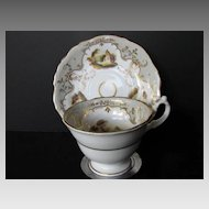 Antique English Porcelain Cup & Saucer, Hand Painted Landscapes, Antique Early 19th C English