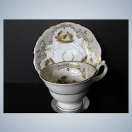Antique English Porcelain Cup & Saucer, Hand Painted Landscape Vignettes, Early 19th C