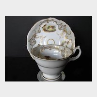 Antique English Cup & Saucer, Handpainted Scenes, Early 19th C