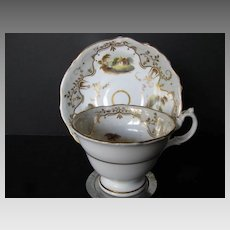 English Porcelain Cup & Saucer, Handpainted Scenes, Antique Early 19th C