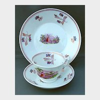 Antique English Tea Cup, Saucer & Plate, (3 Pc.)  Bat Printed Porcelain,  Early 19th C
