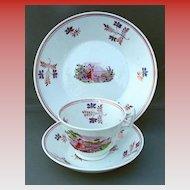 Pink Lustre ( 3 pieces), Tea Cup, Saucer & Plate, English Soft Paste Porcelain, Antique Early 19th C