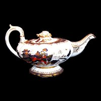 Antique Mason's Teapot, Rare Bone China, Chinoiserie/Imari Colors, Early 19th C