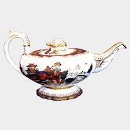 Antique Mason Bone China Teapot,  Blue, Red & Gilt, Chinoiserie, Early 19th C