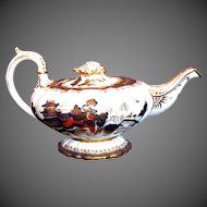Antique Mason Bone China Teapot,  Blue, Red & Gilt, Chinoiserie, Early 19th C