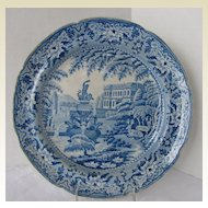 "Antique Mason Plate, Blue & White Pearlware ""Trentham Hall"", Early 19th C"