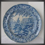 Antique English Plate, Blue & White Pearlware, C. J. Mason,  Early 19th C