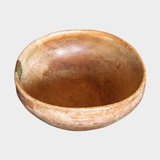Antique Turned Wood Bowl, Treen,  Dated 1780,  with an Early Repair