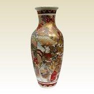 """Antique Satsuma Vase, Large - 18"""", Samurai & Scholars, Meiji Era"""
