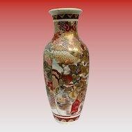 """Large Satsuma Vase, 18"""", Samurai & Scholars, Antique Meiji Era"""