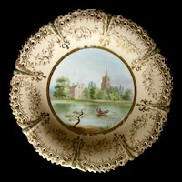 "Antique English Porcelain Cabinet Plate, ""Fulham Church"", Pierced & Jeweled, 19th C"