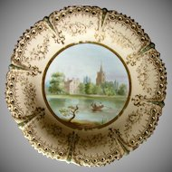 Cabinet Plate, Named View, Pierced & Jeweled, Antique 19th C English Porcelain