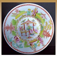 """Chinoiserie Saucer, """"Architectural Draughtsman"""", Antique Early 19th C English"""