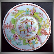 "Chinoiserie Saucer, ""Architectural Draughtsman"", Antique Early 19th C English"