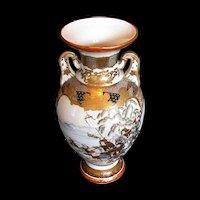 Antique Kutani Vase, Large, Samurai on Horseback,  Japanese Meiji Era
