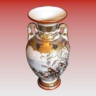 Exceptional Large Kutani Porcelain Vase, Samurai on Horseback,  Antique Japanese Meiji Era