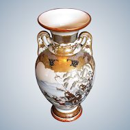 Antique Kutani Vase, Samurai on Horseback,  Japanese Meiji Era