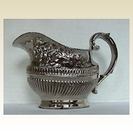 Antique English Pottery Creamer,  Early 19th C Silver Lustre