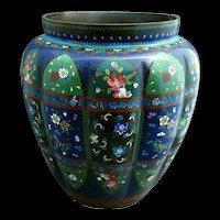 Antique Japanese Cloisonne Vase, Large, Melon Lobed, Meiji Era