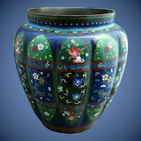 Antique Japanese Cloisonne Vase, Large, Melon Lobed, Meiji Era