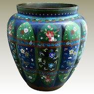 Japanese Cloisonne Vase, Large, Melon Lobed with Wide Mouth, Antique Meiji Era