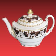 Barr Worcester Porcelain Teapot,  Antique Early 19th C English