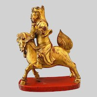 Antique Chinese Wood Carving, Gilded Immortal Astride Qilin, Inscribed, 19th C