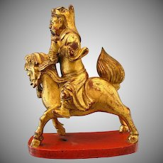 Antique Chinese Wood Carving, Immortal Astride Qilin, Inscribed, 19th C