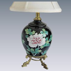 Famille Noire Vase Mounted as a Lamp, White & Pink Peonies, Signed Base, Vintage