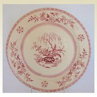 Furnival Plate, Red Transferware,  Ceylon Pattern, Antique 19th C English
