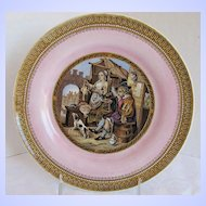 Antique Pratt Plate, Pink Ground, 19th C English