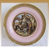 """F&R Pratt Plate, Pink Ground, """"The Poultry Woman""""  Antique 19th C English"""