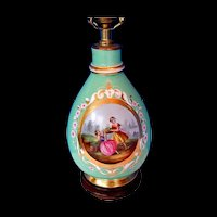 Antique Paris Porcelain Vase Fitted as a Lamp, Hand Painted, 19th C