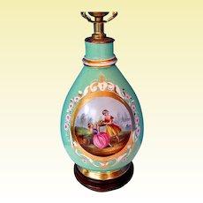 Antique Paris Porcelain Vase Fitted as a Lamp, Hand Painted, 19th C