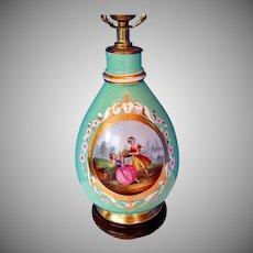 Old Paris Porcelain  Vase Fitted as a Lamp, 2 Women, Antique 19th C