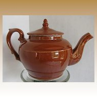 Teapot, Belgian or French Pottery, Brown Glaze, Impressed Lion Mark, Antique