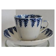 Child's Cup & Saucer, Spatterware Cut Sponge,  Blue Fern, Antique 19th C English