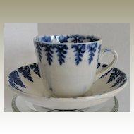 Child's Cup & Saucer, Spatterware Cut Sponge,  Blue Fern, Antique 19th C English