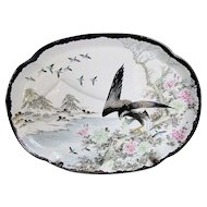 Rare Black Kutani Tray or Platter, Eagle in Snow,  Antique Japanese, Signed