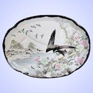 Antique Japanese Platter, Rare Black Kutani