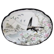 Antique Japanese Yokohama Kutani Platter, Eagle