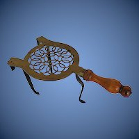 Antique Fireplace Trivet,  Brass, Iron & Wood, 18th C English