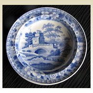 """Rare!  Antique Spode Toy Plate,  """"Blue Tower"""", Early 19th C"""