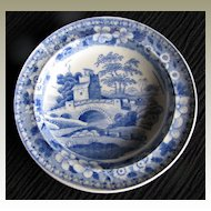 "Rare Spode Toy Plate,  ""Blue Tower"", Antique Early 19th C English,"