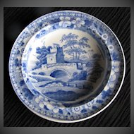 "Rare!  Antique Spode Toy Plate,  ""Blue Tower"", Early 19th C"