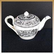 Vintage Black Transferware Teapot,  Entwined Strap Handles