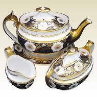 Antique Spode Tea Set: Teapot,  Creamer, Sugar, & Stand, Early 19th C