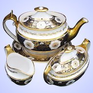 Antique Spode Tea Set: Teapot,  Creamer, Sugar, & Stand, Early 19th C