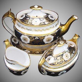 Spode Tea Set, Antique Early 19th C, Teapot,  Creamer, Sugar, & Stand