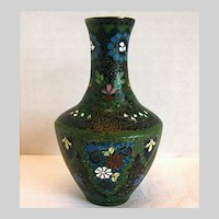 Antique Japanese Cloisonne Vase with Ginbari, Small, Meiji Era
